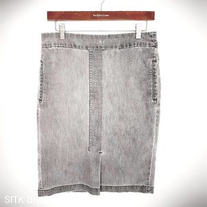 Talbots Sz 8 Distressed Gray Denim Pencil Skirt